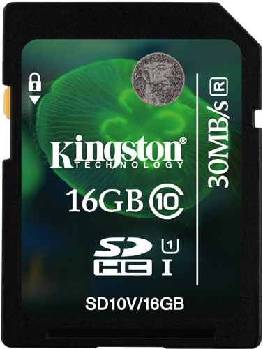 Карта памяти SDHC / Secure Digital High Capacity 16 Гб Kingston Сlass 10 UHS 1, R45