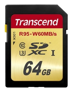 Карта памяти SDXC / Secure Digital eXtended Capacity 64 Гб Transcend Сlass 10  UHS-1 U-3