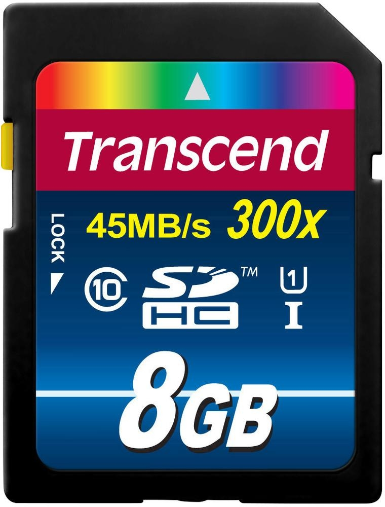 Карта памяти SDHC / Secure Digital High Capacity 8Гб Transcend Сlass 10  UHS1 400x Premium