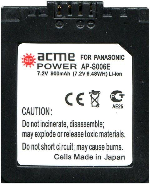 Аккумулятор PANASONIC CGR-S006 (AcmePower)